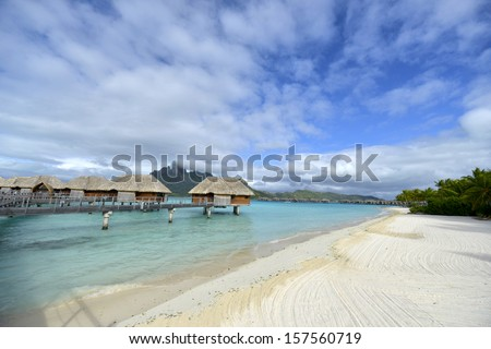 Bora Bora. View over beautiful turquoise lagoon to volcanic Mount Otemanu, Bora Bora Island, Society Islands, French Polynesia. - stock photo