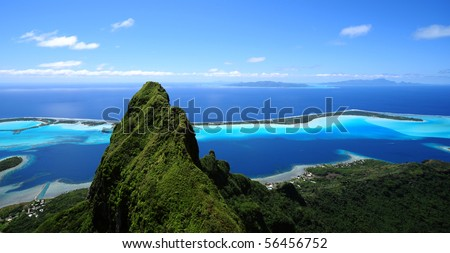 bora nora and otemanu mt. - stock photo