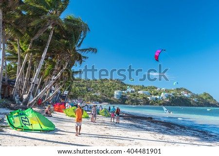 Boracay island, Philippines - January 25: strong wind at Bulabog beach, one of the most sought-after spots for kiteboarding and windsurfing, on January 25, 2016, Boracay island, Philippines. - stock photo