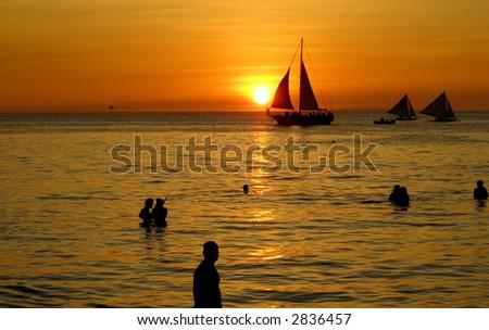 Boracay, Philippines Sunset with Sailboats - stock photo