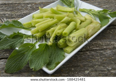 Borage freshly harvested and ready to cook - stock photo