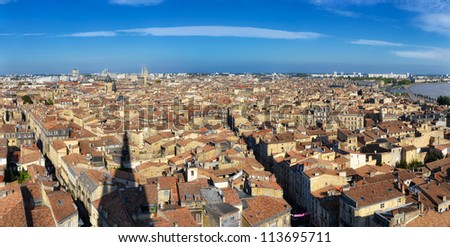 Bordeaux city panorama from St Michel tower - stock photo