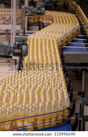 Bordeaux, France, August. 2006: Sunflower oil factory in Bordeaux, France on August, 7th. 2006, bottling the sunflower oil into plastic container