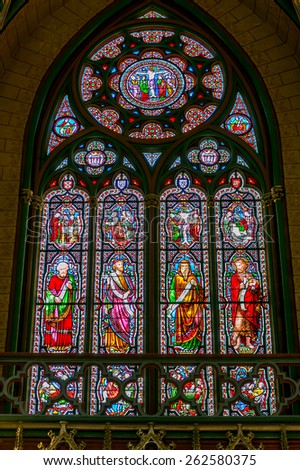 Bordeaux, France - July 18, stained glass cathedral in Bordeaux, July 18.2014 in Bordeaux