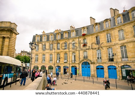 BORDEAUX, FRANCE - JUNE 03: Beautiful streets on June 03, 2016 in Bordeaux, France.