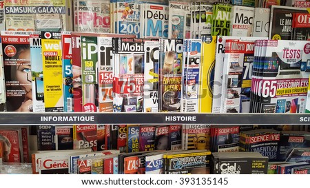 Bordeaux, France - March 19, 2016 : Popular french magazines in french language, on display in a supermarket.