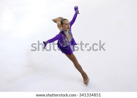 BORDEAUX, FRANCE - NOVEMBER 13, 2015: Angelina KUCHVALSKA of Latvia performs short program at Trophee Bompard ISU Grand Prix at Patinoire Meriadeck Arena.