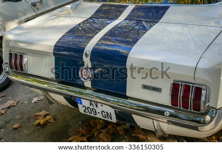 BORDEAUX, FRANCE, November 01, 2015 : FORD MUSTANG GT 350 - Public exhibition collection of vintage antique classic cars.