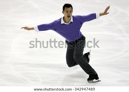 BORDEAUX, FRANCE - NOVEMBER 13, 2015: Patrick CHAN of Canada performs short program during the official training at Trophee Bompard ISU Grand Prix at Patinoire Meriadeck Arena. - stock photo
