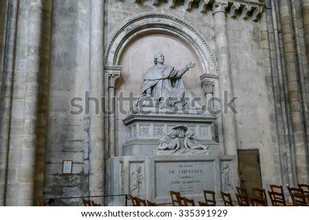 BORDEAUX, FRANCE, November 01, 2015 : The Cathedral of Bordeaux, statue from interior view,