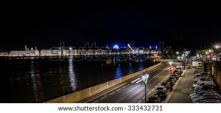 BORDEAUX, FRANCE, October 29, 2015 : Night view - QUAI DE QUEYRIES with the view on the river Garonne, many restaurants around the largest cinema complex in Bordeaux