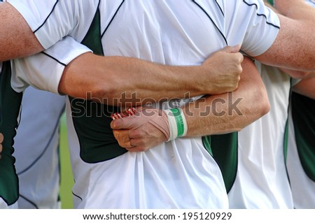 BORDEAUX, FRANCE-SEPTEMBER 09, 2007: irish palyers embracing before the match Ireland vs Namibia, of the Rugby World Cup, France 2007, in Bordeaux. - stock photo