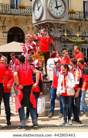 BORDEAUX - JUNE 14 : Austrian football fans gathering in the city before match on 14 June 2016 in Bordeaux, France. EURO 2016 takes place in France in 2016.