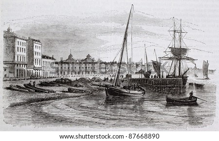 Bordeaux old view from the beach, France. Created by Beuguelet, published on Magasin Pittoresque, Paris, 1844 - stock photo