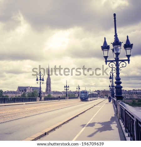 Bordeaux river bridge with St Michel cathedral