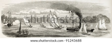 Bordeaux sea race old illustration. Created by Godefroy-Durand after Gorin, published on L'Illustration, Journal Universel, Paris, 1858 - stock photo