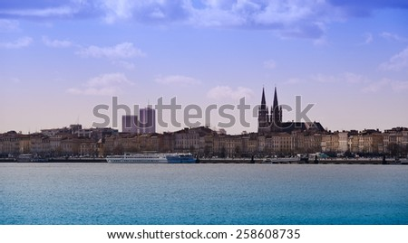 Bordeaux view from the river Garonne, France - stock photo
