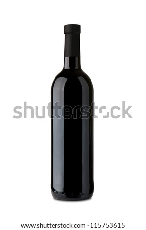 Bordeaux wine bottle isolated on white background - stock photo
