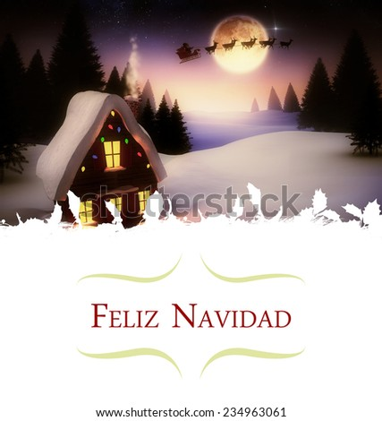 border against christmas house under full moon - stock photo