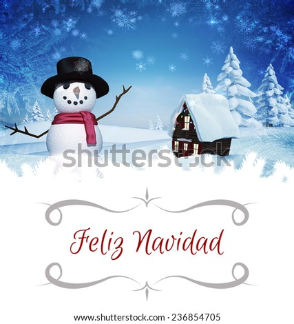 border against christmas house with snow man - stock photo