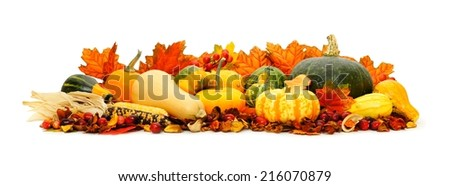 Border arrangement of autumn vegetables and leaves - stock photo