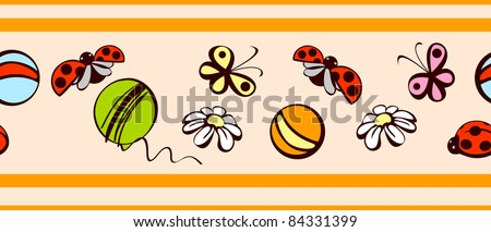 border. children's background.elements of nature on a beige background. raster version