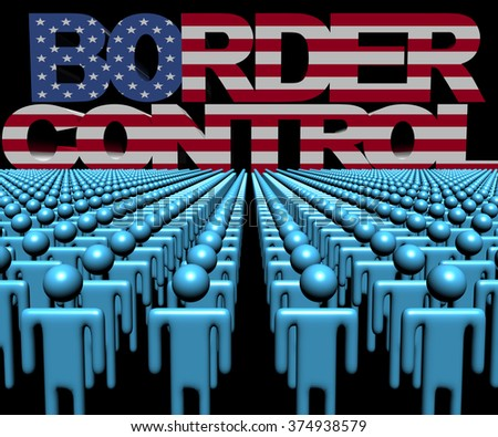 Border Control text with American flag and crowd of people illustration - stock photo