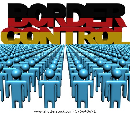 Border Control text with German flag and crowd of people illustration