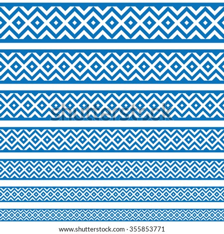 Border decoration elements patterns in blue and white colors. Geometrical ethnic border in different sizes set collections. Raster version. Can use as tattoos, frames, patterns, dividers - stock photo