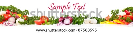 border design of fresh vegetables, isolated on white - stock photo