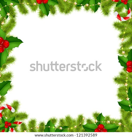 Border Fir-tree Branches With Gold Stars And Holly Berry Isolated On White Background - stock photo