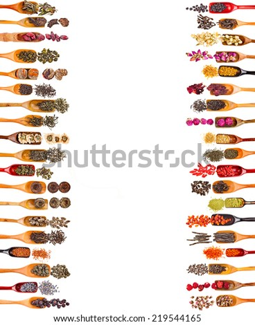 Border Frame of Collection Set Tea Leaves and Fruit Berry Flower Additives in spoon scoop, isolated on white background - stock photo