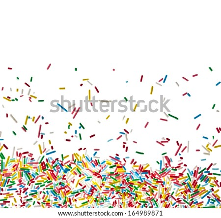 Border frame of colorful candy sprinkles isolated on white background card for text - stock photo