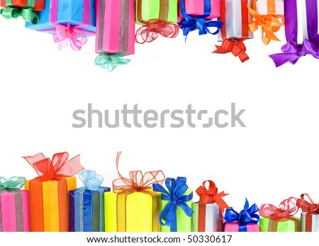 Border frame of Colorful gifts boxes with  ribbons bows, card  isolated  on white background - stock photo