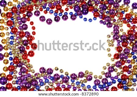 border frame of  Mardi Gras bead necklaces isolated on white