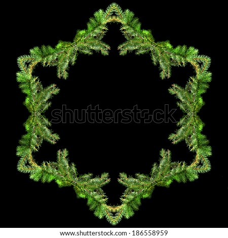 Border frame of natural green fir branch with copy space isolated on black background - stock photo