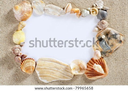 border frame with summer beach shells and blank copy space paper - stock photo