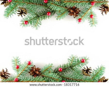 Border from branches with cones and red balls - stock photo