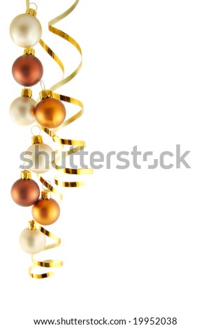 Border from christmas balls on the white background - stock photo