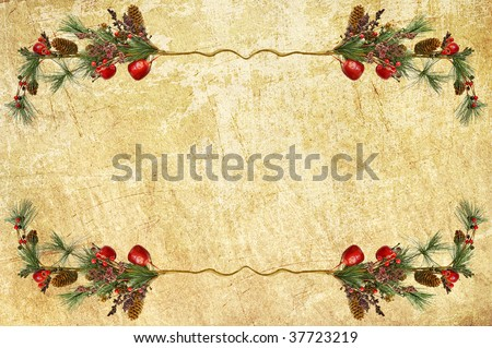 border from Christmas branches - stock photo