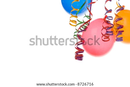 Border made from colorful balloons and confetti isolated on white background - stock photo