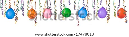 Border made from colorful balloons and confetti isolated on white background XXL easy to separate and make your own design - stock photo