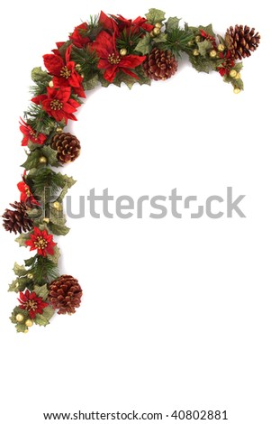 Border made of Christmas decoration. On white background and isolated, with some copy space for text. - stock photo
