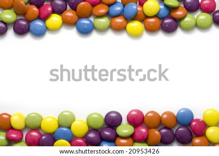 Border made of colorful candies - stock photo