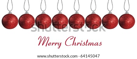 Border made of  red christmas baubles on strings - stock photo
