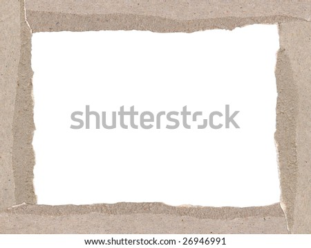 Border made of torn cardboard. Clipping path included. - stock photo