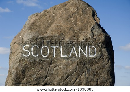 Border marker between Scotland and England at Carter Bar - stock photo