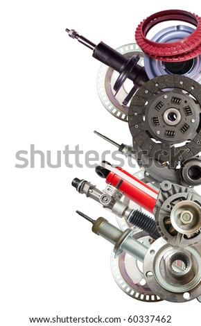Border of  automobile parts. Isolated on white - stock photo