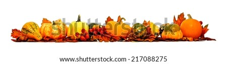 Border of autumn leaves, pumpkins and vegetables over white - stock photo