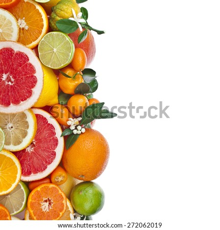 Border of  citrus fruits mixed close up  top view isolated on white background - stock photo